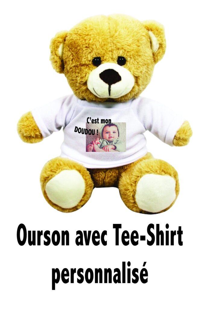 Ourson avec mini tee-shirt à personnaliser